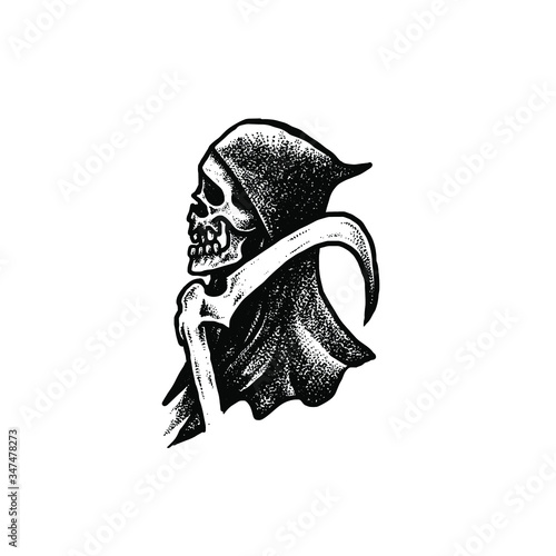 Photo Grim reaper dotwork illustration
