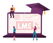 Online Education, Learning Management System Concept. Tiny Characters at Huge Laptop LMS Graphs and Charts on Screen. People Reading E-books and Study at School. Cartoon People Vector Illustration