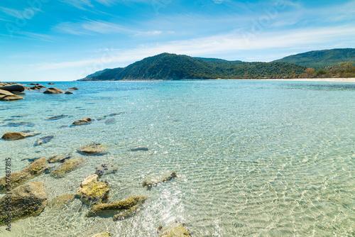 Obraz Blue sea and rocks in Cala Pira - fototapety do salonu