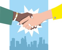 Female Handshake. Flat Design. Two Business Women In Green And Yellow Clothes Against The Blue Background Of The Metropolis Shake Hands