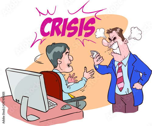 Fotografie, Obraz Angry boss character yelling at employee office worker stock illustration