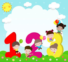 Cartoon Kids With 123 Numbers,...