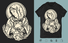 Coronavirus Art. Doctor Virgin Mary Prays For The Addition Of The Epidemic. One Color Creative Print For Dark Clothes. T-shirt Design. Template For Posters, Textiles, Apparels