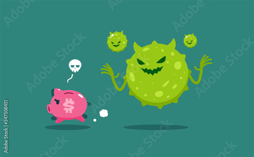 Cuadros en Lienzo The green virus chase a piggy bank. Isolated Vector Illustration