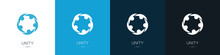 Set Of Unity Logos. Team And Partnership Concept. Collection. Modern Style. Vector Illustration