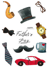 Isolated On White Background Watercolor Set On Father's Day - The Car, Hat, Mustache, Watches, Tube, Tie, Mug, Glasses