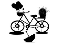 Silhouette Bicycle Flower In B...