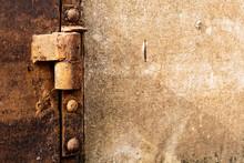 Close-up Of Hinge On Rusty Metal