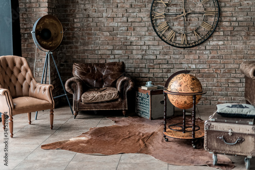 Fototapeta old fashioned interior with antique furniture and decoration