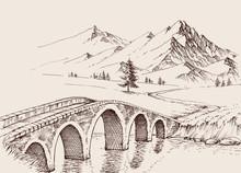 Stone Bridge Over River In The Mountains. Alpine Hand Drawn Landscape
