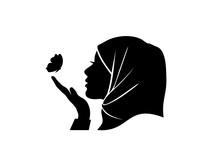 Silhouette Vector Of Beauty Hijab Women Looking Butterfly In Her Hand