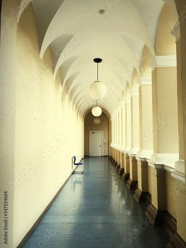 Fotografering Pedant Lights Hanging In Corridor