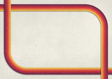 A Retro 1970's Or 1980's Graphic Background Design For Use As A Product, Poster Or Flyer Background With Yellow, Orange And Red Curved Stripes With Corner Border And Copy Space For Design
