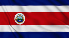 Costa Rica Flag Is Waving 3D Animation. Costa Rica Flag Waving In The Wind. National Flag Of Costa Rica