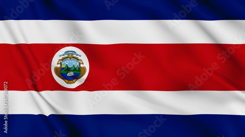 Photo costa rica flag is waving 3D animation