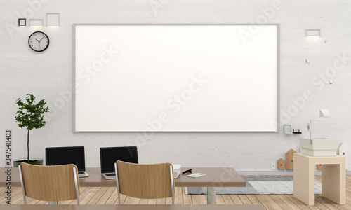 Obraz Classroom interior with big whiteboard for mockup, 3D rendering - fototapety do salonu