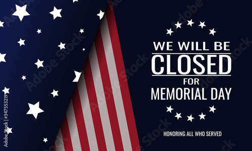 Memorial day, we will be closed card or background Canvas-taulu