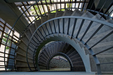 Spiral Staircase In The Old Bu...