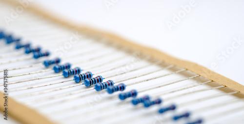 Blue resistor in row,Resistor on white background Wallpaper Mural