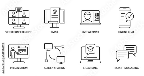 Fototapeta Vector online communication icons. Editable Stroke. Video conference, online chat, email, live webinar, instant messaging, online presentation, screen sharing, e-learning obraz