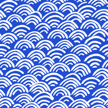 All Over Seamless Vector Repeat Pattern With White Abstract Geometric Half Circle Japanese Koi Fish Scale Rainbow Wi-fi Shapes In Navy Blue