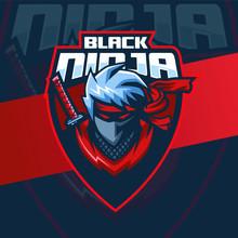 Black Ninja Mascot Logo
