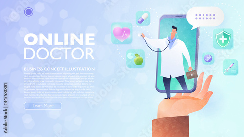 Photo Online Doctor and Telemedicine concept