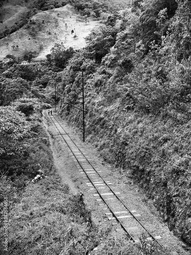 Railway Tracks On Hillside Fototapet