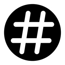Hashtag Icon Vector On Black C...