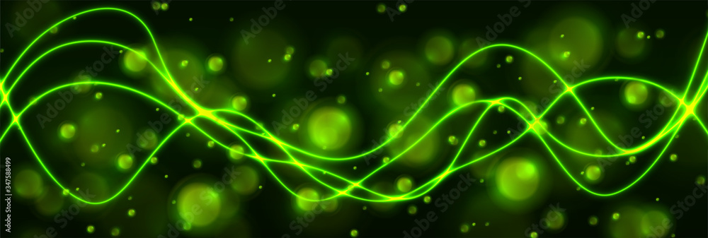 Fototapeta Green shiny neon waves and glowing bokeh particles abstract background. Vector banner design