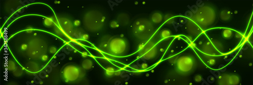 Photo Green shiny neon waves and glowing bokeh particles abstract background