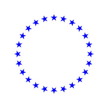 Circle With Blue Stars, Emblem, Icon, Logotype, Poster, Frame, Print Version Vector Illustration