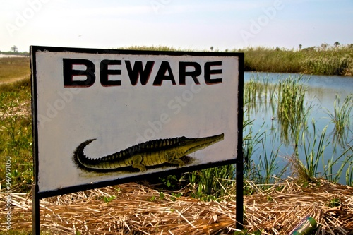 Photo Beware Of Crocodiles Sign