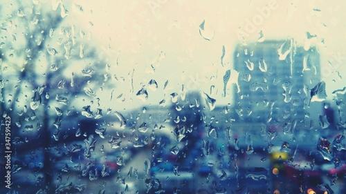 Canvas Full Frame Shot Of Raindrops On Glass Window