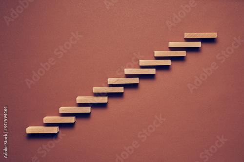Biznesowa koncepcja drewniane klocki ułożone w konceptualnym wizerunku Obraz na płótnie