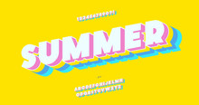 Vector Summer Font 3d Bold Color Style Modern Typography For Decoration, Logo, Poster, T Shirt, Book, Card, Sale Banner, Printing On Fabric, Industrial. Cool Typeface. Trendy Fun Alphabet. 10 Eps
