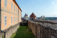 The Inner Court Of The Eger Castle In Hungary On A Sunny Afternoon With The Dobo Bastion In The Background.
