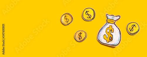 Fotografie, Tablou Money bag drawing - financial theme - flat lay
