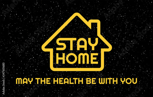 Photo Stay Home creative funny concept of quarantine sign