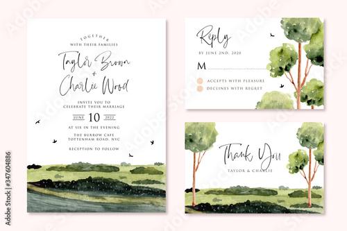 wedding invitation set with green landscape watercolor Fototapete