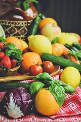rustic composition of fruits and vegetables - healthy food, traditional cuisine