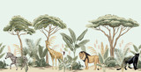 Vintage african tree, banana tree, plant, lion, giraffe, zebra, panther animal floral border blue background. Exotic safari wallpaper. - 347614424