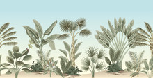 Vintage Tropical Palm Tree, Ba...