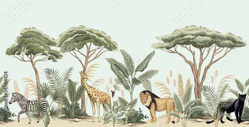 Vintage african tree, banana tree, plant, lion, giraffe, zebra, panther animal floral border blue background. Exotic safari wallpaper.