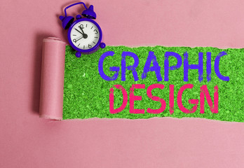 Writing note showing Graphic Design. Business concept for art or skill of combining text and pictures in advertisements