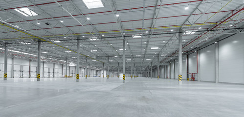 industrial hall background - warehouse space