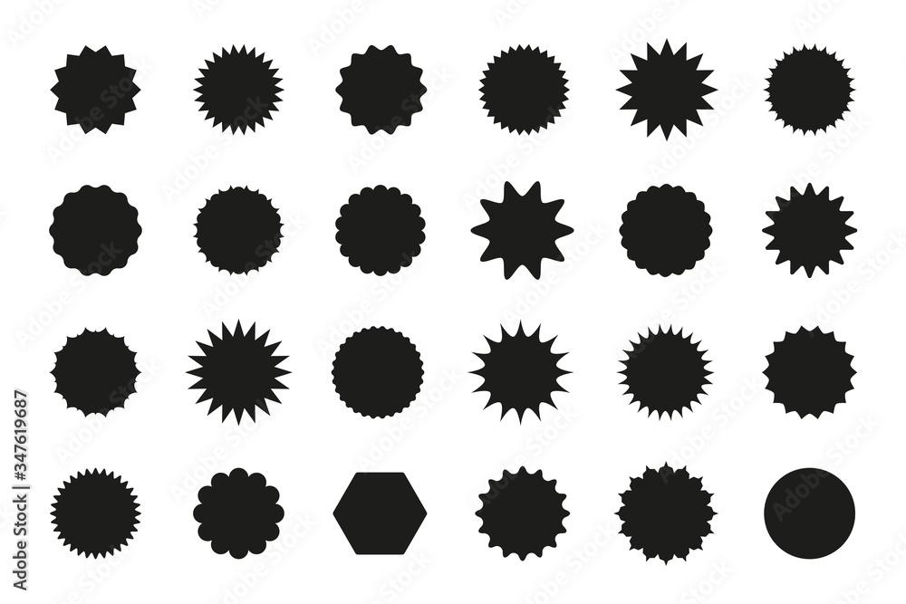 Fototapeta Set of star burst stickers. Vector starburst price tag icon. Set badge shape. Isolated sale promo pricetags. Black badges on white background. Round sun splash in simple design. Wave vignette.