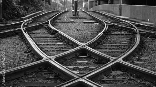 Railroad Tracks At Junction Canvas