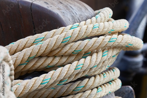 Old rope piled up on a boat Canvas-taulu