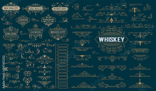 Kit for logos with banners, accents and boders Wallpaper Mural